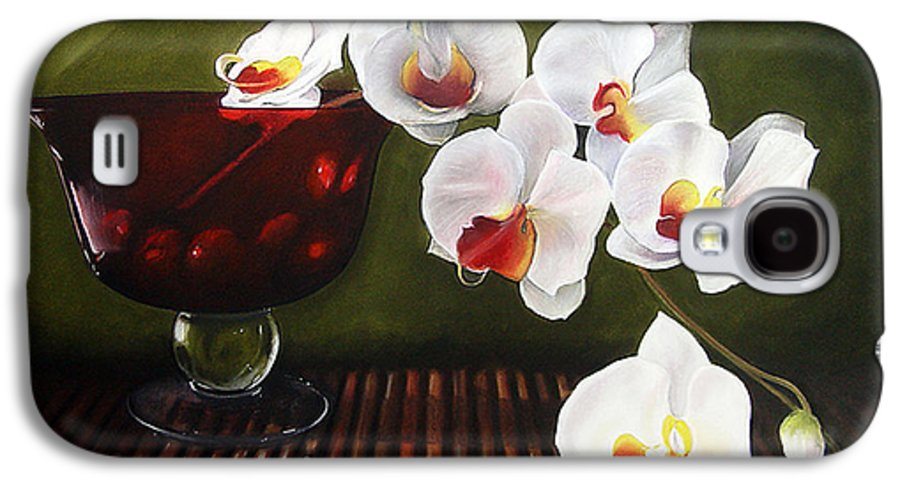 Floral Galaxy S4 Case featuring the painting Orchid Cascade by Colleen Brown