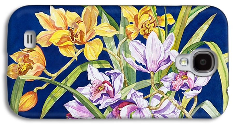 Orchids Galaxy S4 Case featuring the painting Orchids In Blue by Lucy Arnold