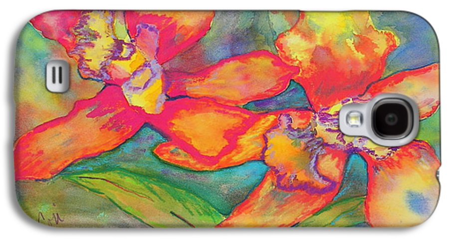 Flowers Galaxy S4 Case featuring the painting Orchids In Paradise by Cori Solomon