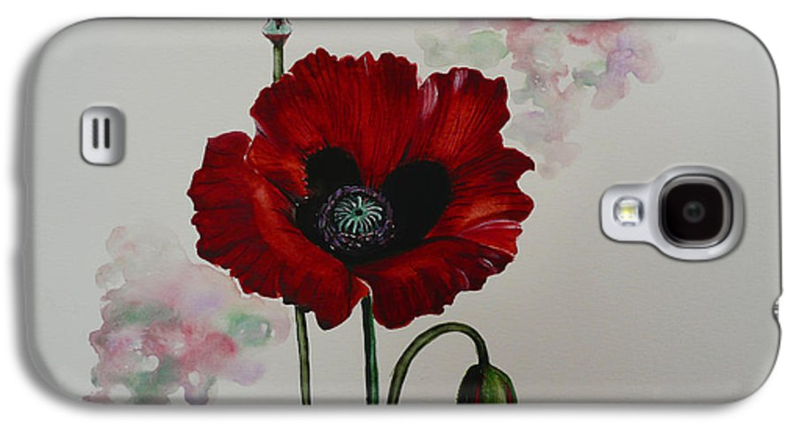 Floral Poppy Red Flower Galaxy S4 Case featuring the painting Oriental Poppy by Karin Dawn Kelshall- Best