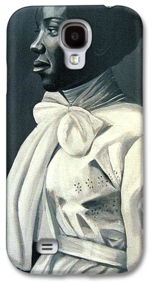 Portrait Galaxy S4 Case featuring the painting Out Of The Box Woman In Large White Bow by Joyce Owens
