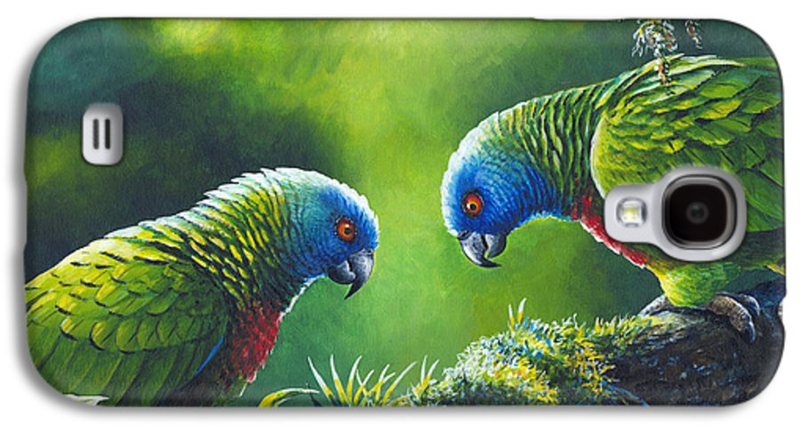Chris Cox Galaxy S4 Case featuring the painting Out On A Limb - St. Lucia Parrots by Christopher Cox