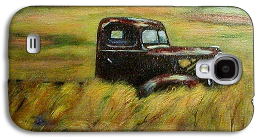 Vintage Truck Galaxy S4 Case featuring the painting Out To Pasture by Gail Kirtz