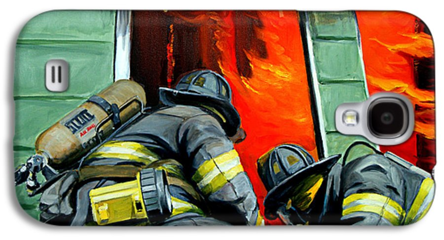 Firefighting Galaxy S4 Case featuring the painting Outside Roof by Paul Walsh