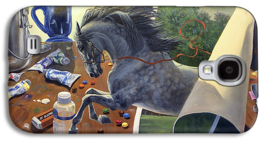 American Saddlebred Art Galaxy S4 Case featuring the painting Over The Edge by Jeanne Newton Schoborg