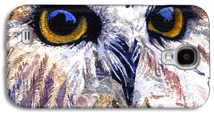 Eye Galaxy S4 Case featuring the painting Owl by John D Benson