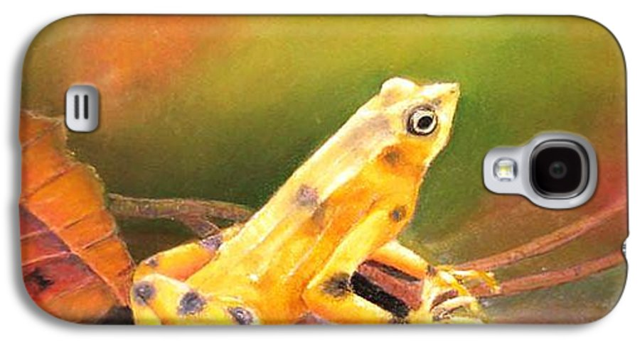 Endangered Galaxy S4 Case featuring the painting Panamenian Golden Frog by Ceci Watson