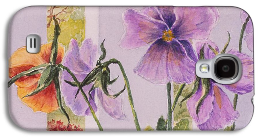 Florals Galaxy S4 Case featuring the painting Pansies On My Porch by Mary Ellen Mueller Legault