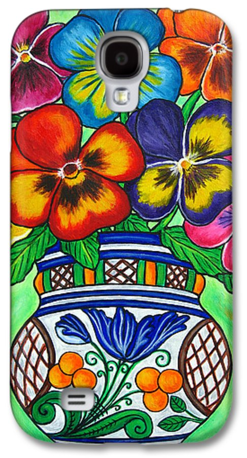 Flower Galaxy S4 Case featuring the painting Pansy Parade by Lisa Lorenz