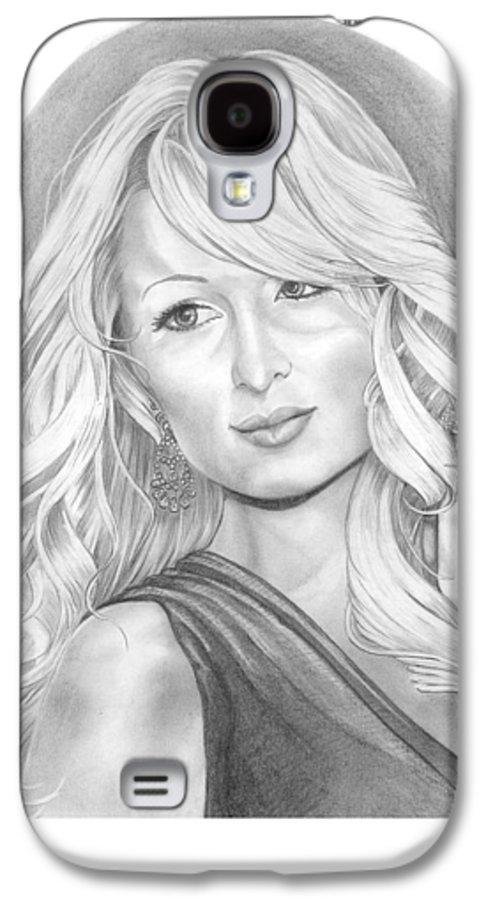 Portrait Galaxy S4 Case featuring the drawing Paris Hilton by Murphy Elliott