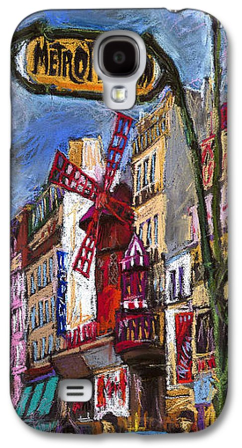 Cityscape Galaxy S4 Case featuring the painting Paris Mulen Rouge by Yuriy Shevchuk