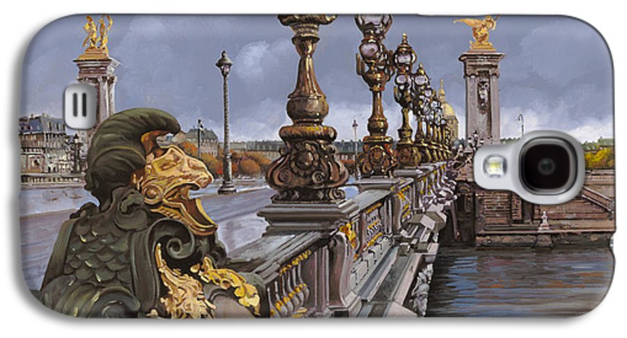 Paris Galaxy S4 Case featuring the painting Paris-pont Alexandre IIi by Guido Borelli