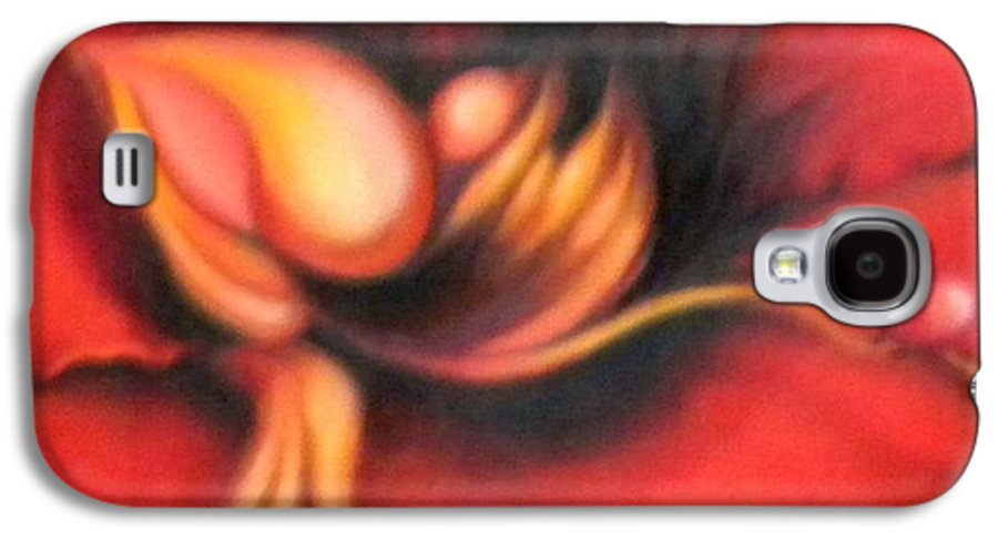 Red Surreal Bloom Artwork Galaxy S4 Case featuring the painting Passion Flower by Jordana Sands