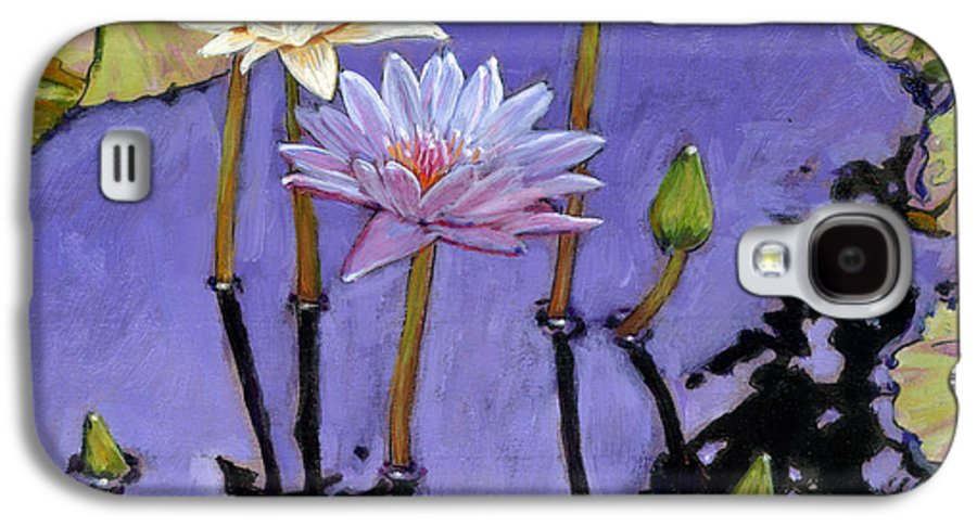 Water Lilies Galaxy S4 Case featuring the painting Pastel Petals by John Lautermilch