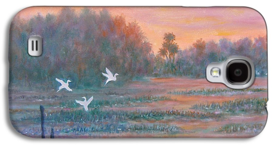 Low Country; Egrets; Sunset Galaxy S4 Case featuring the painting Pawleys Island by Ben Kiger
