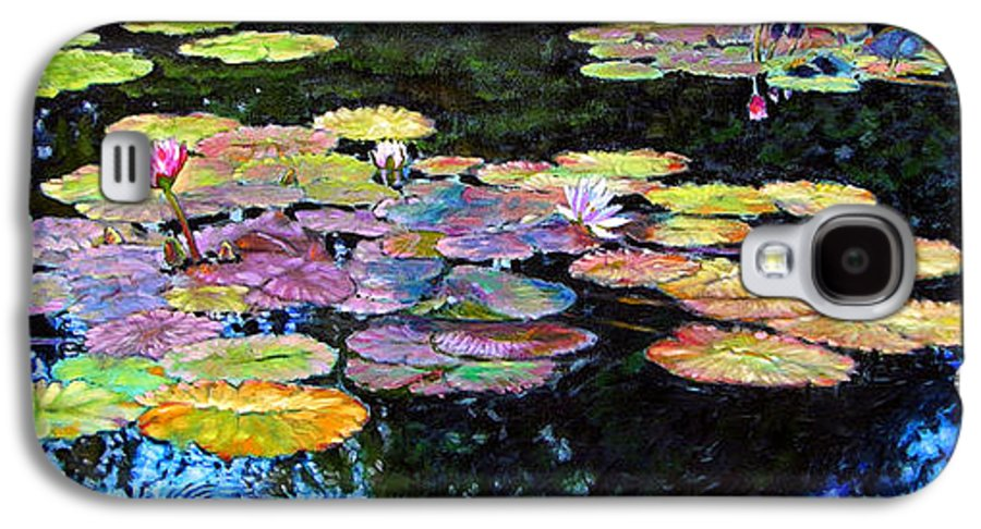 Water Lilies Galaxy S4 Case featuring the painting Peace Among The Lilies by John Lautermilch