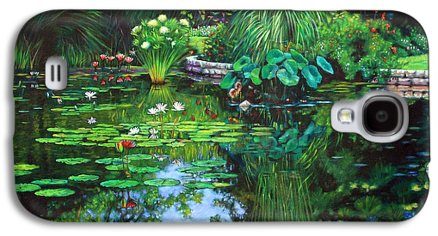 Landscape Galaxy S4 Case featuring the painting Peace Floods My Soul by John Lautermilch