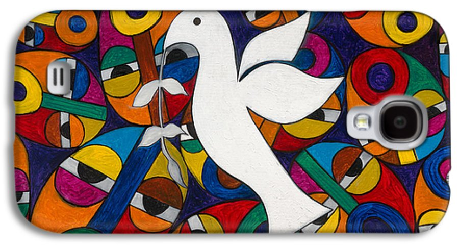 Dove Galaxy S4 Case featuring the painting Peace On Earth by Emeka Okoro