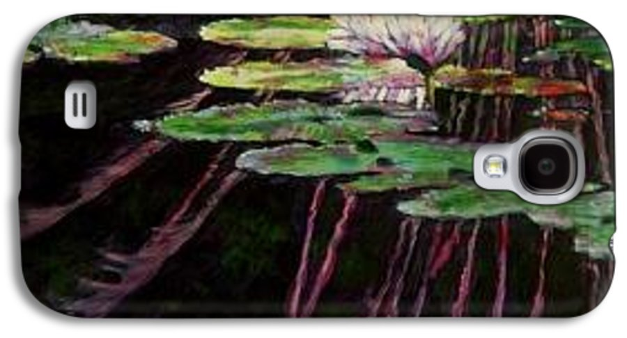 Quiet Pond With Water Lily And Reflections. Missouri Botanical Garden Galaxy S4 Case featuring the painting Peaceful Reflections by John Lautermilch