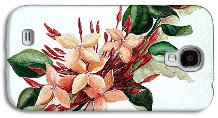 Floral Peach Flower Watercolor Ixora Botanical Bloom Galaxy S4 Case featuring the painting Peachy Ixora by Karin Dawn Kelshall- Best