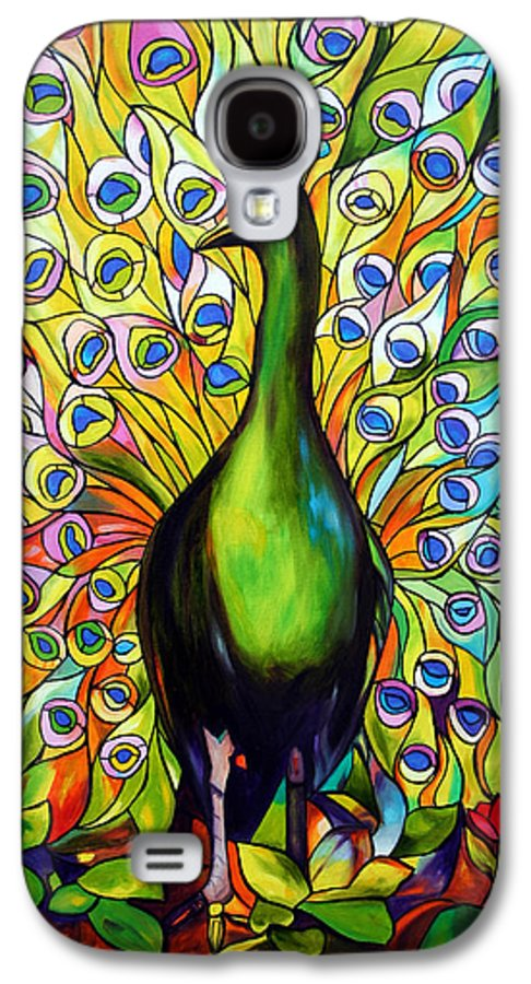 Bird Galaxy S4 Case featuring the painting Peacock by Jose Manuel Abraham
