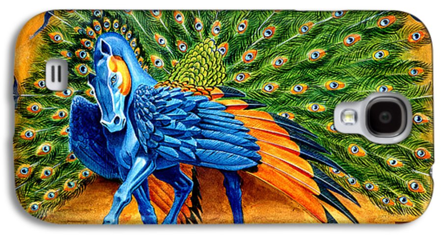 Horse Galaxy S4 Case featuring the painting Peacock Pegasus by Melissa A Benson