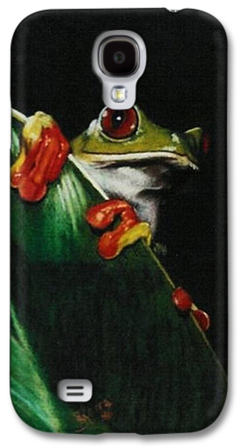 Frog Galaxy S4 Case featuring the drawing Peek-a-boo by Barbara Keith