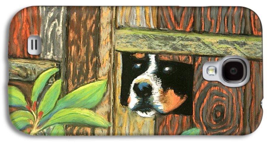 Dog Galaxy S4 Case featuring the painting Peek-a-boo Fence by Minaz Jantz