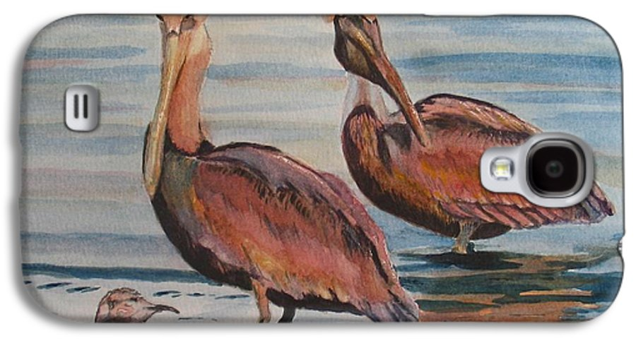 Pelicans Galaxy S4 Case featuring the painting Pelican Party by Karen Ilari