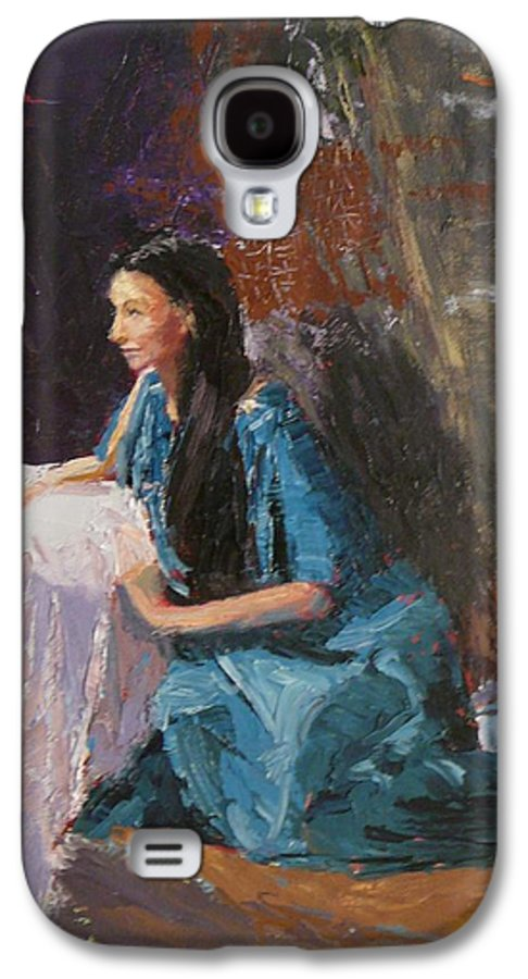 Sitting Woman Galaxy S4 Case featuring the painting Penelope by Irena Jablonski