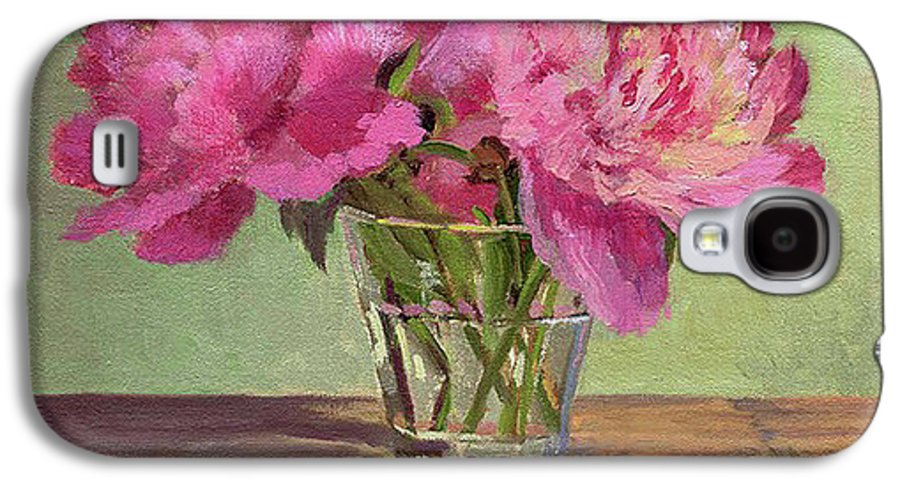Still Galaxy S4 Case featuring the painting Peonies In Tumbler by Keith Burgess