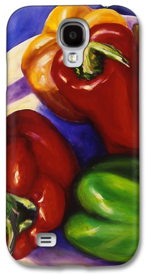 Still Life Peppers Galaxy S4 Case featuring the painting Peppers In The Round by Shannon Grissom