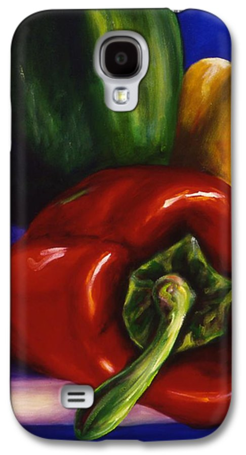 Still Life Galaxy S4 Case featuring the painting Peppers On Peppers by Shannon Grissom