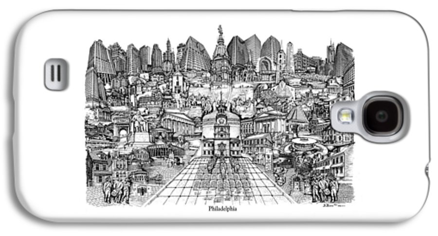City Drawing Galaxy S4 Case featuring the drawing Philadelphia by Dennis Bivens
