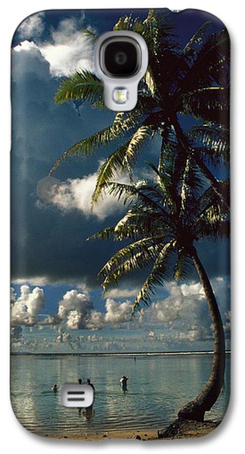 Island; Paradise; Beach; Palms; Palm; Palm Trees; Calm Water; Tropical; Swimmers; Vacation; Ideal; T Galaxy S4 Case featuring the photograph Pigeon Point On Tobago by Carl Purcell