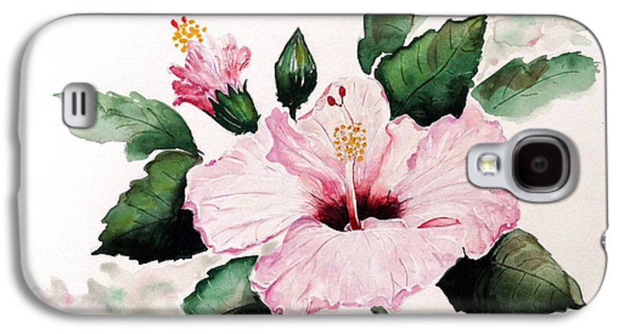 Hibiscus Painting  Floral Painting Flower Pink Hibiscus Tropical Bloom Caribbean Painting Galaxy S4 Case featuring the painting Pink Hibiscus by Karin Dawn Kelshall- Best