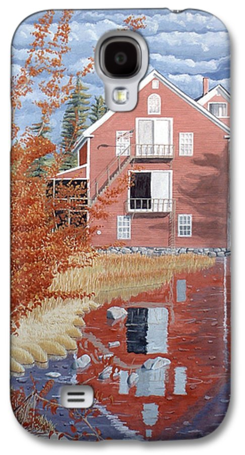 Autumn Galaxy S4 Case featuring the painting Pink House In Autumn by Dominic White