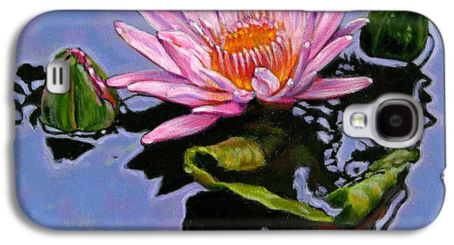 Water Lily Galaxy S4 Case featuring the painting Pink Lily With Dancing Reflections by John Lautermilch
