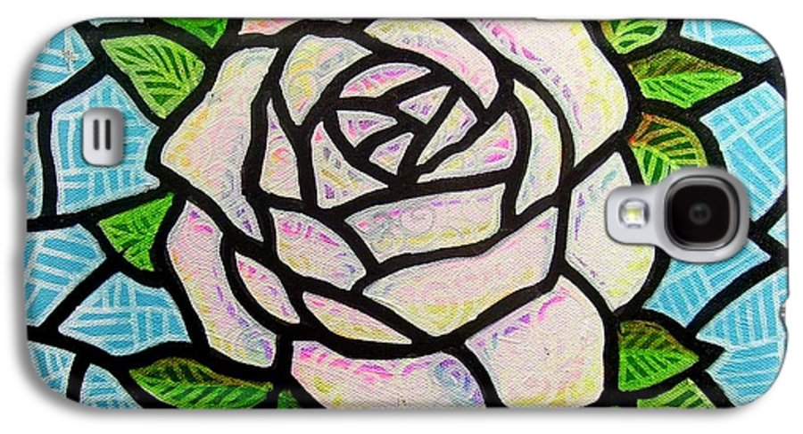 Rose Galaxy S4 Case featuring the painting Pinkish Rose by Jim Harris