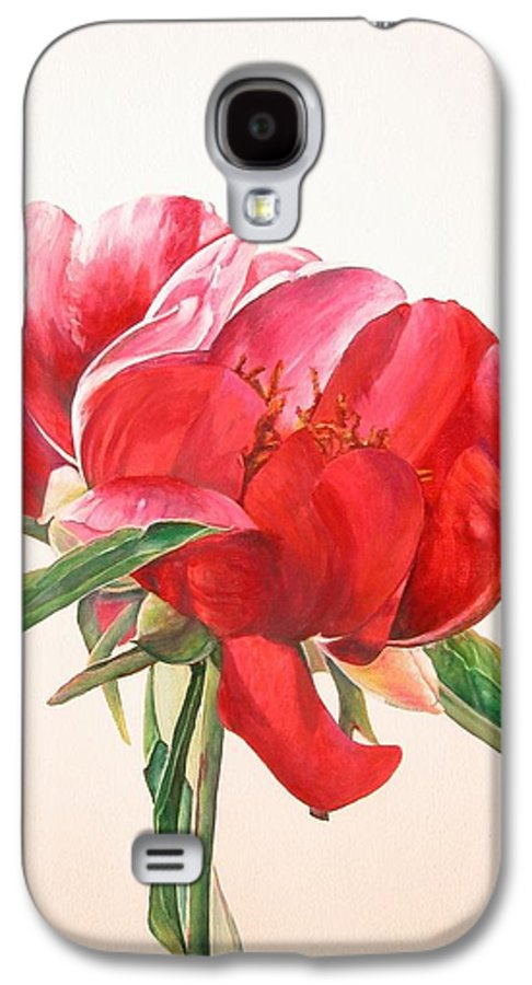 Floral Painting Galaxy S4 Case featuring the painting Pivoine 2 by Muriel Dolemieux