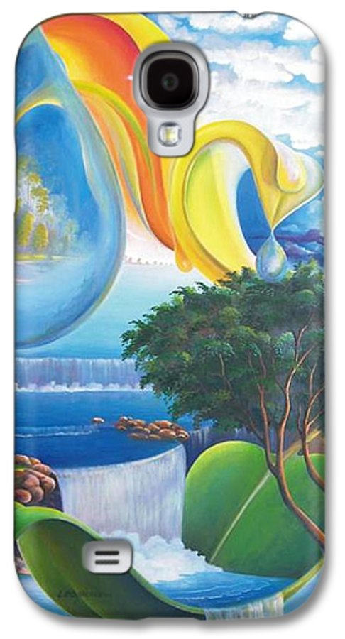 Surrealism - Landscape Galaxy S4 Case featuring the painting Planet Water - Leomariano by Leomariano artist BRASIL
