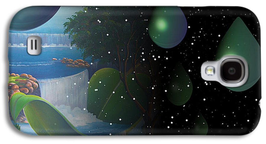 Suarrealism Galaxy S4 Case featuring the painting Planet Water by Leomariano artist BRASIL