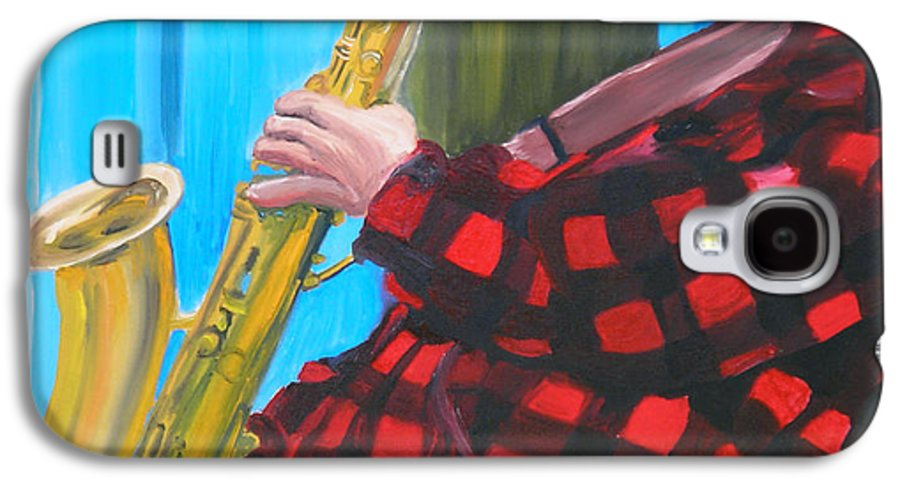 Sax Player Galaxy S4 Case featuring the painting Play It Mr Sax Man by Michael Lee