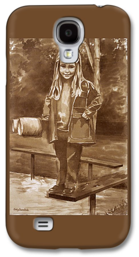 Little Girl On Bench In Park Galaxy S4 Case featuring the painting Playground 2 by Judy Swerlick
