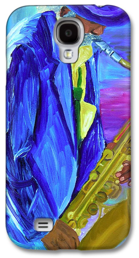 Street Musician Galaxy S4 Case featuring the painting Playing The Blues by Michael Lee