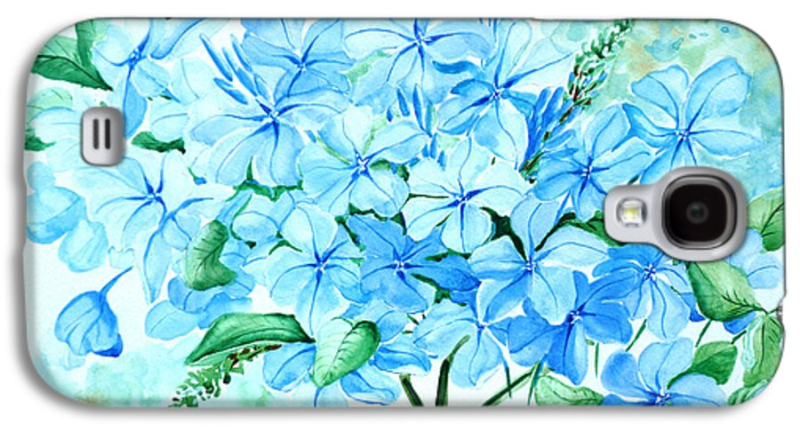 Floral Blue Painting Plumbago Painting Flower Painting Botanical Painting Bloom Blue Painting Galaxy S4 Case featuring the painting Plumbago by Karin Dawn Kelshall- Best