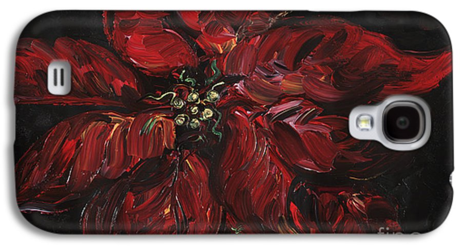 Abstract Galaxy S4 Case featuring the painting Poinsettia by Nadine Rippelmeyer