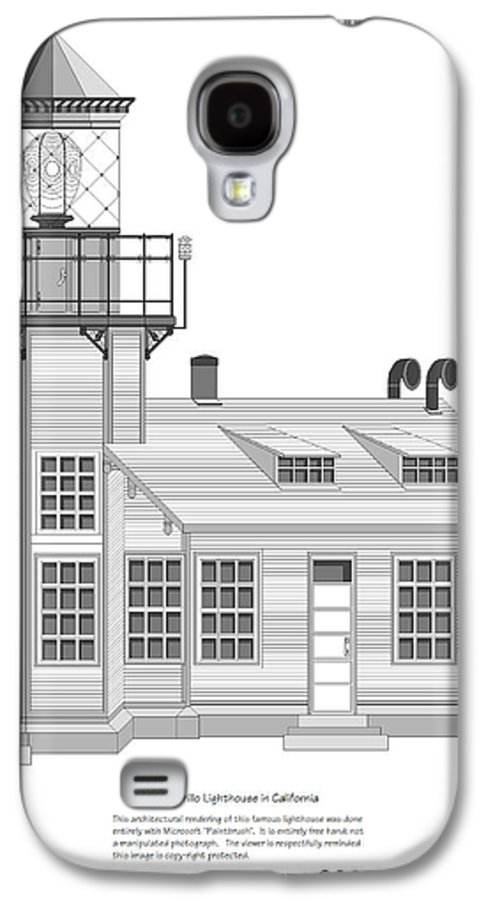 Lighthouse Galaxy S4 Case featuring the painting Point Cabrillo Architectural Drawing by Anne Norskog