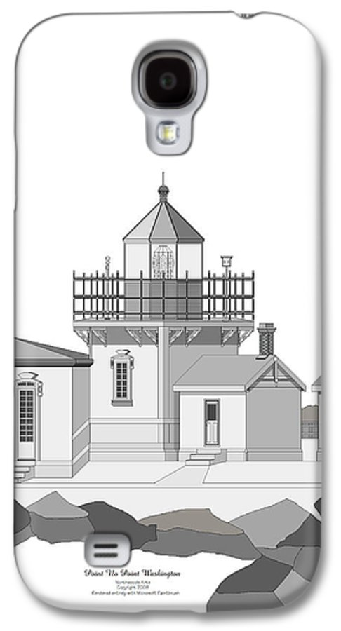 Lighthouse Galaxy S4 Case featuring the painting Point No Point As Architectural Drawing by Anne Norskog
