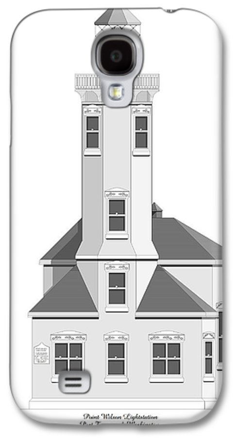 Lighthouse Galaxy S4 Case featuring the painting Point Wilson Architectural Drawing by Anne Norskog